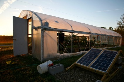 This modern greenhouse uses solar energy...