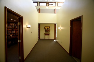 Entering Emmaus House, Library at left.