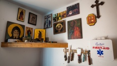 Icon corner in the candleshop.