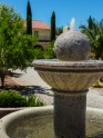 Closeup of the fountain at the center of the gardens.
