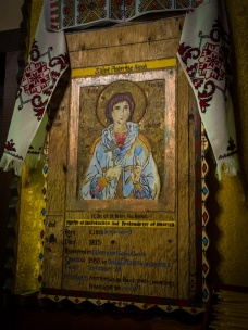 The wood carved icon of St Peter the Aleut.