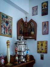 A samovar for tea in the trapeza.
