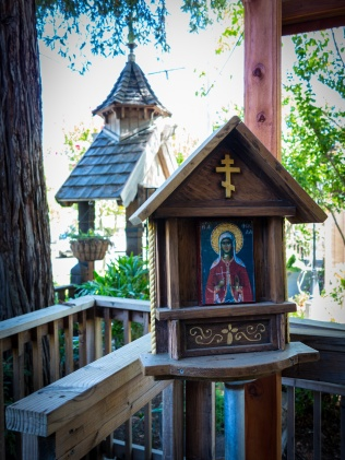 St Barbara graces the deck outside the trapeza.