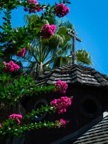 Blossoms frame every view of the chapel.
