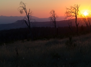 Sunset from the ridge near the monastery. A serious wildfire swept through the area a few years ago, but the monastery was spared.